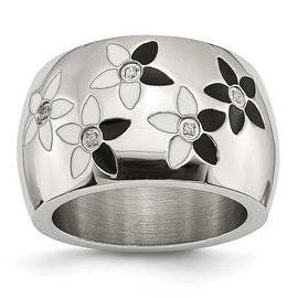 Stainless Steel Black & White Enamel Flowers with CZ Ring (15 mm)