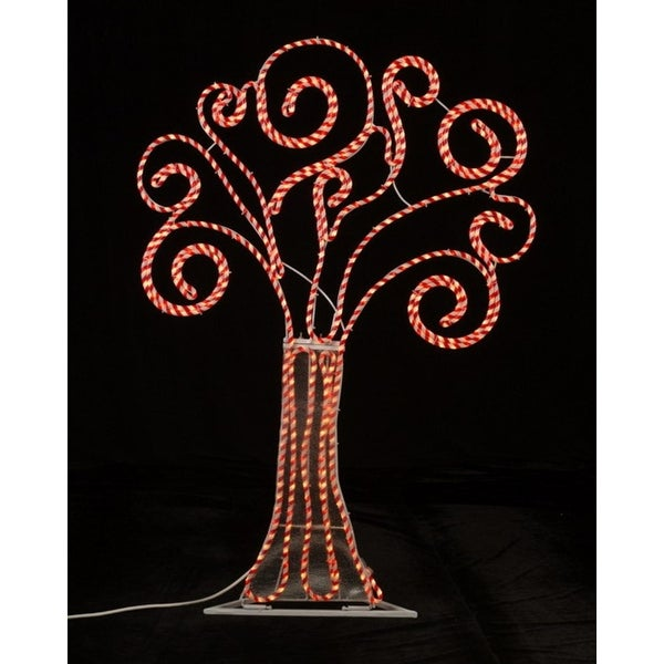 4' Pre-Lit Peppermint Twist Swirl Rope Light Christmas Tree Outdoor Decoration - RED
