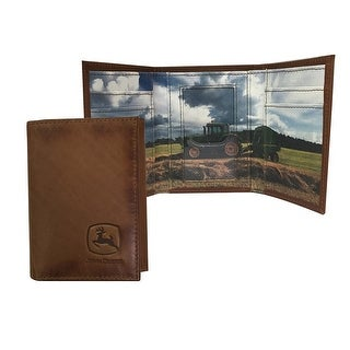 John Deere Western Wallet Mens Leather Trifold Leather Tan 4079000 - One size