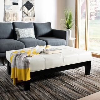 Link to Safavieh Off-white Beech Wood and Bicast Leather Cocktail Ottoman Similar Items in Ottomans & Storage Ottomans