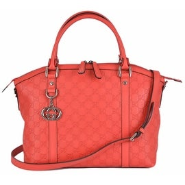 Gucci 341503 Coral Red Leather Guccissima GG Charm Convertible Dome Purse