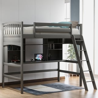 Link to Twin size Loft Bed with Storage Shelves Desk and Ladder Similar Items in Kids' & Toddler Furniture