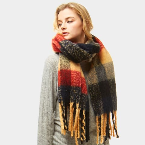 Women Multi Color Plaid Check Oblong Blanket Winter Scarf