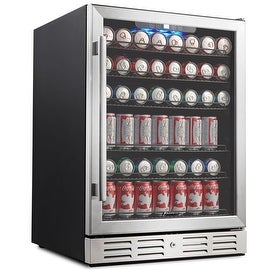 "Kalamera KRC-150BV 175 Can Beverage Cooler Refrigerator 24"" Built-in Single Zone Touch Control with Stainless Steel Door"