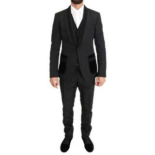 Dolce & Gabbana Black Silk Torrero Slim Fit 3 Piece Suit - it48-m