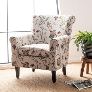 "Link to Safavieh Gramercy Red Flowers Ivory Club Chair - 29.8"" x 32.8"" x 32.4"" Similar Items in Accent Chairs"
