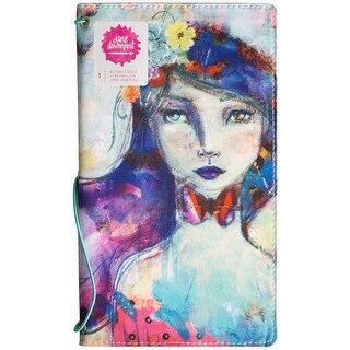 "Jane Davenport Butterfly Effect Canvas Cover Book 5""X9""-Girl W/2 Elastics & 4 Paper Inserts"