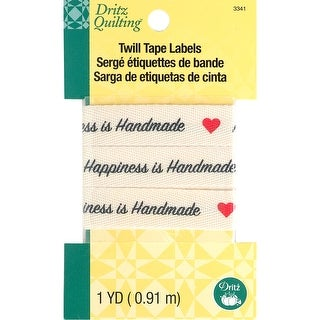 """Dritz Quilting Twill Tape Labels 36""""-Happiness Is Homemade"""