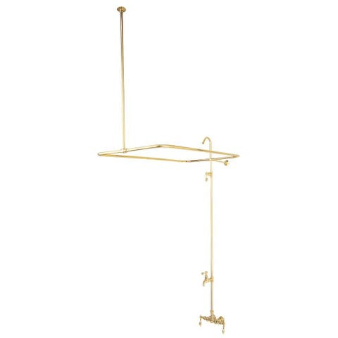 Elements Of Design DT0612AL Triple Handle Wall Mounted Clawfoot Tub Filler and Shower System with Metal Lever Handles from the