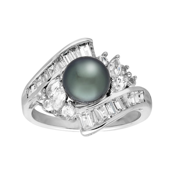 7.5 mm Black Freshwater Pearl & Created White Sapphire Ring in 10K White Gold