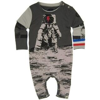 Mini Shatsu Baby Boys Grey Astronaut Skater Screen Print Twofer Romper18M
