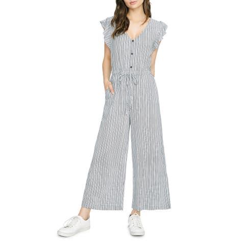 Sanctuary Womens Mica Jumpsuit Pinstripe V-Neck - Eco Stripe