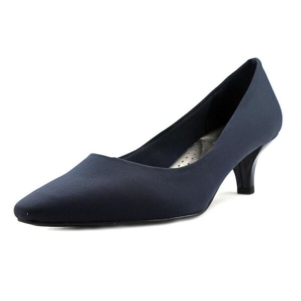 Abella Judith Women Round Toe Canvas Blue Heels