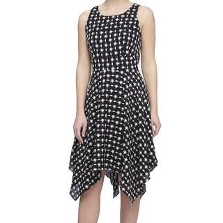 Tahari by ASL NEW Black White Print Women's 10 Asymmetrical Hem Dress
