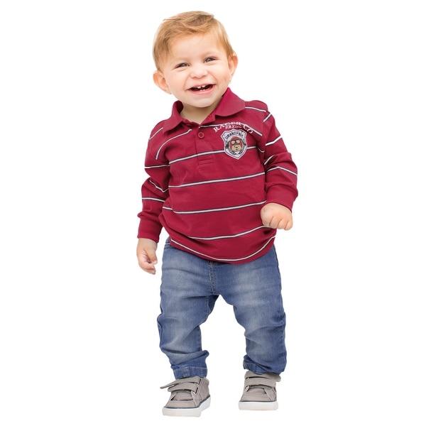 Pulla Bulla Baby Boy Long Sleeve Striped Polo Shirt