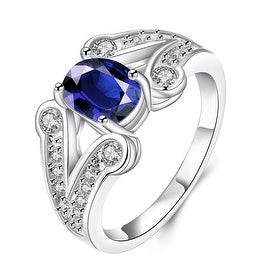 Mock Sapphire Duo Curved Lining Ring