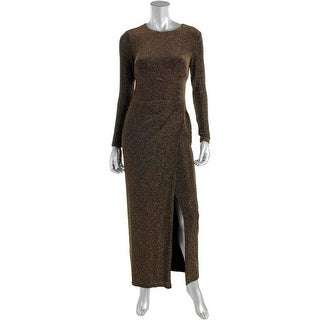 Lauren Ralph Lauren Womens Petites Evening Dress Metallic Ruched