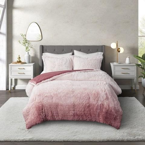 CosmoLiving Cleo Ombre Shaggy Fur Comforter Set