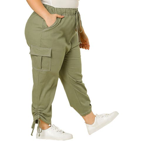 Women's Plus Size Drawstring Elastic Waist Cargo Pants with Pockets