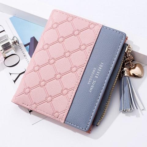 New Wallet Short Ladies Zipper Wallet Korean Fringed Simple Joker Coin Purse Coin Card Holder - M