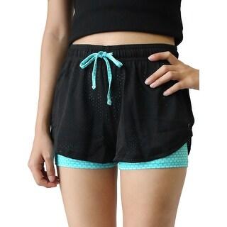 Black Blue Size M Plaid Pattern Drawstring Mesh Gym Yoga Workout Sport Shorts