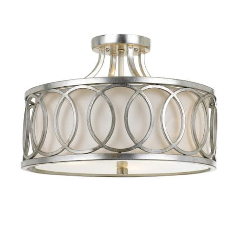 Libby Langdon for Crystorama Graham 3 Light Ant Silver Ceiling Mount - 15'' W x 11'' H