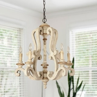 Link to Antique 5-Light Farmhouse Candle Wooden Chandelier Similar Items in Chandeliers