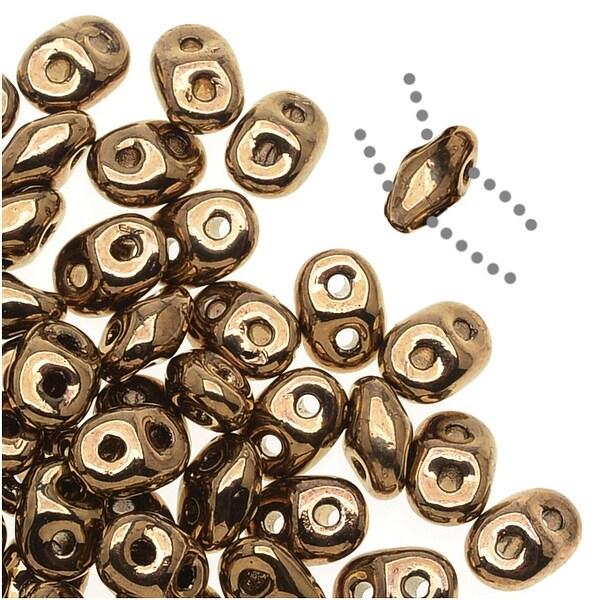 Czech Glass SuperDuo 2-Hole Seed Beads 2x5mm - Bronze (8 Grams)