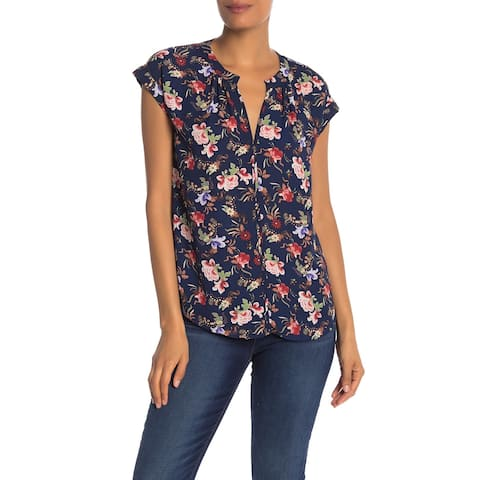 Philosophy Womens Blouse Blue Size XL Split Neck Floral Rolled Sleeve 883