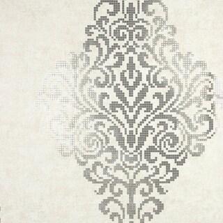 Brewster 2542-20749 Lux Silver Foil Damask Wallpaper