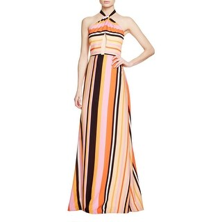 Kay Unger Womens Evening Dress Striped Halter