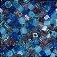 Miyuki 4mm Glass Cube Beads Color Mix Caribbean Blues 10 Grams