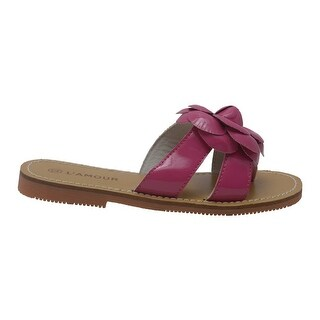 L'Amour Girls Fuchsia Flower Accent Thong Trendy Sandals 7-10 Toddler