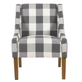HomePop Modern Swoop Accent Chair - Blue Plaid