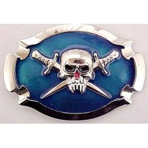 Blue Enamel Vampire Skull with Crossed Swords Belt Buckle