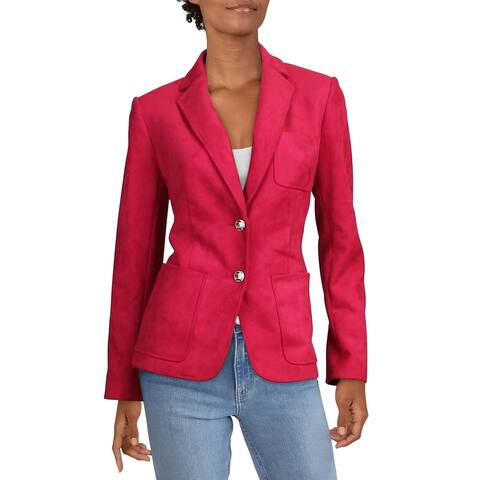 Tommy Hilfiger Womens Two-Button Blazer Faux Suede Suit Separate - Pink