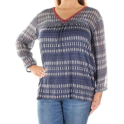 LUCKY BRAND Womens Blue Geometric Long Sleeve V Neck Blouse Top Size: XS