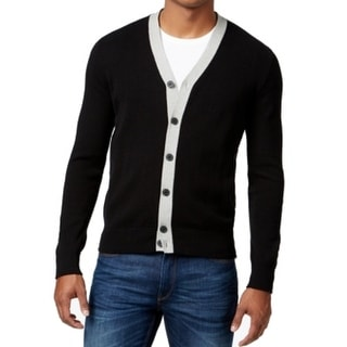 Kenneth Cole NEW Black Mens Size 2XL Cardigan Button-Down Sweater