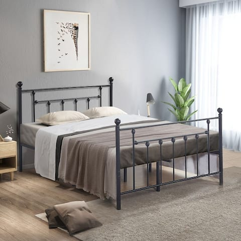 VECELO 14-inch Storage Victorian Twin/Full/Queen Size Steel Slat Bed Frame(Fixed Bed Frame,Twin/Full/Queen Size 3 Opotion)