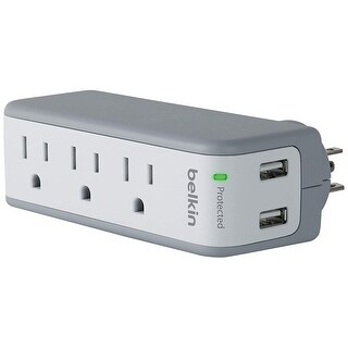 Belkin Components : Mini Surge/Usb Charger, 3 Ac Outlets, 2 Usb Outlets, White -:- Sold As 2 Packs Of - 1 - / - Total Of