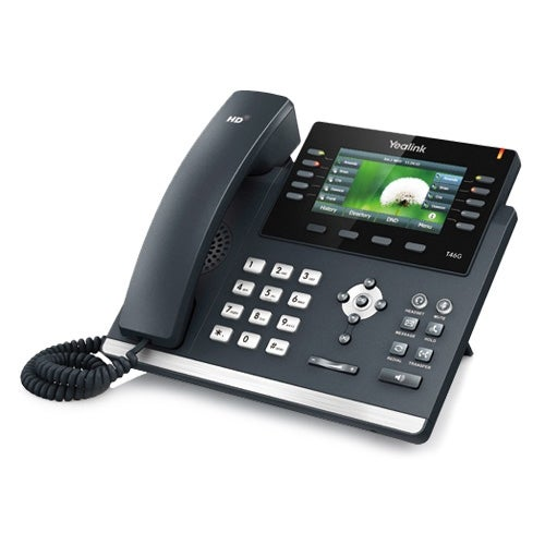 Yealink SIP-T46G-AC Corded Voice Over IP Phone w/ 6-Line Operation & 3-Way Conferencing