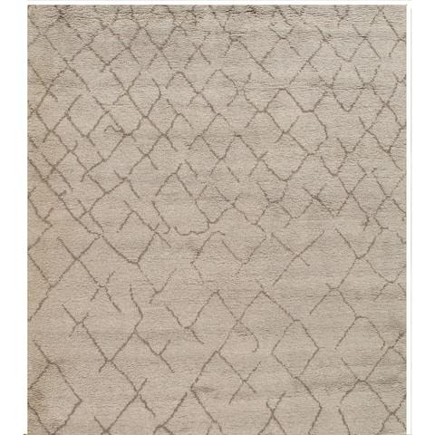 Pasargad Handmade Moroccan Grey Lamb's Wool Rug - 9' x 12'