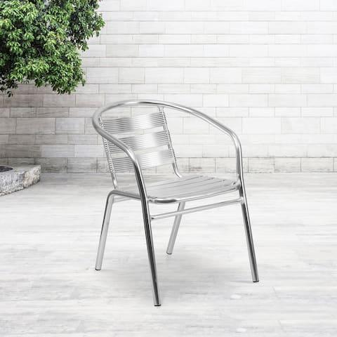 Heavy Duty Commercial Aluminum Indoor-Outdoor Slat-Back Restaurant Stack Chair