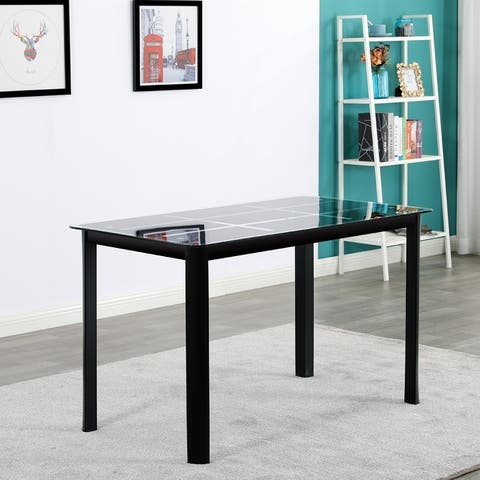 """47"""" Rectangle Tempered Glass Dining Table with Nine Block Box Pattern"""