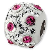 Sterling Silver Reflections White & Pink Crystal Bead
