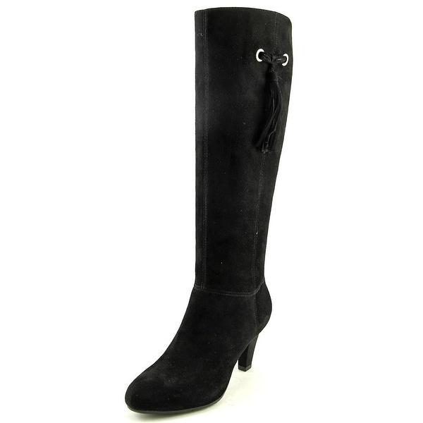 Bandolino Bacia Women Round Toe Suede Black Knee High Boot