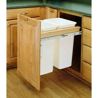 Rev-A-Shelf 4WCTM-21DM2 4WCTM Top Mount Double Bin Trash Can with Full - Natural Wood