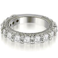 1.90 CT.TW Antique 3/4 Eternity Round Cut Diamond Wedding Band in 14KT Gold - White H-I
