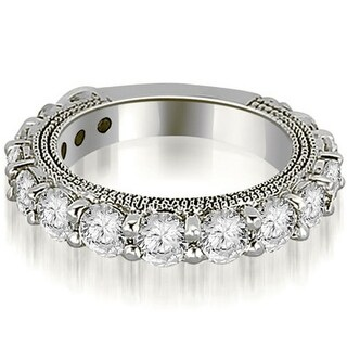 1.90 CT.TW Antique 3/4 Eternity Round Cut Diamond Wedding Band in 14KT Gold - White H-I