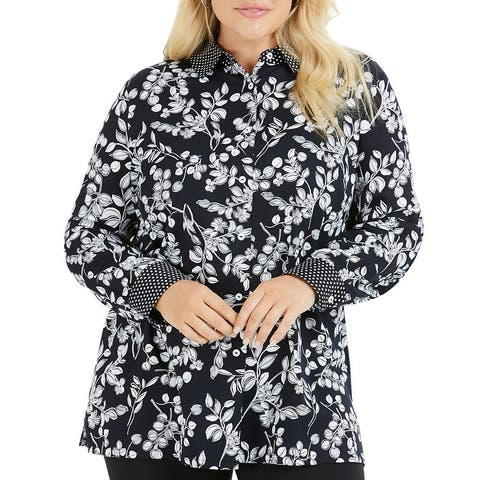 Foxcroft NYC Womens Blouse Floral Wrinkle Free - Black